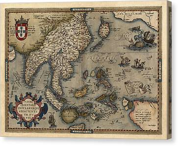 Old Canvas Print - Antique Map Of Asia And The Pacific Islands By Abraham Ortelius - 1570 by Blue Monocle