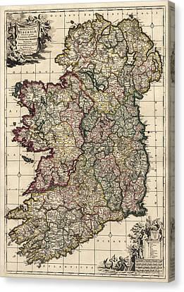 Antique Map Of Ireland By Frederik De Wit - Circa 1700 Canvas Print by Blue Monocle