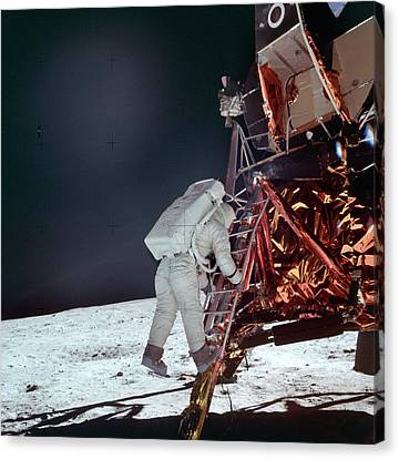Astronauts Canvas Print - Apollo 11 Moon Landing by Image Science And Analysis Laboratory, Nasa-johnson Space Center