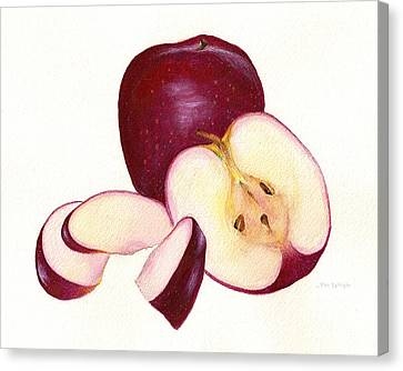 Canvas Print featuring the painting Apples To Apples by Nan Wright