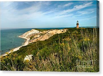 Aquinnah Gay Head Lighthouse Marthas Vineyard Massachusetts Canvas Print by Michelle Wiarda