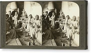Arab Men At Leisure Canvas Print by Underwood Archives