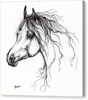Arabian Horse Drawing 37 Canvas Print