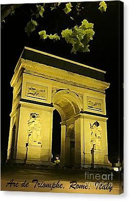 Arc De Triomphe At Night Canvas Print by John Malone