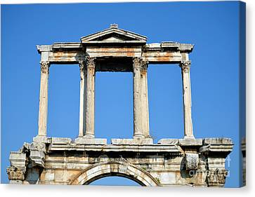Arch Of Hadrian In Athens Canvas Print by George Atsametakis