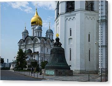 Archangel Cathedral And Czar Bell Of Moscow Kremlin Canvas Print