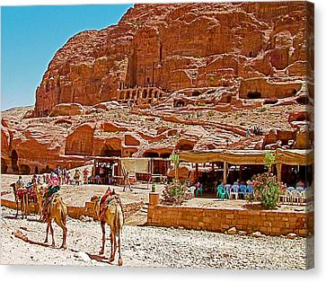 Area In Front Of Tombs Of The Kings In Petra-jordan Canvas Print by Ruth Hager