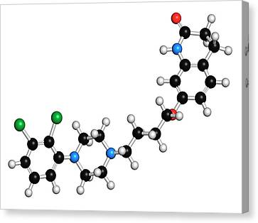 Aripiprazole Antipsychotic Drug Molecule Canvas Print by Molekuul