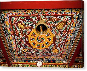 Tibetan Canvas Print - Art In The Architecture Of A Buddhist by Jaina Mishra