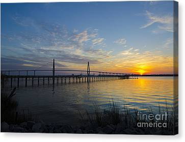 Canvas Print featuring the photograph Sunset Over The Charleston Waters by Dale Powell