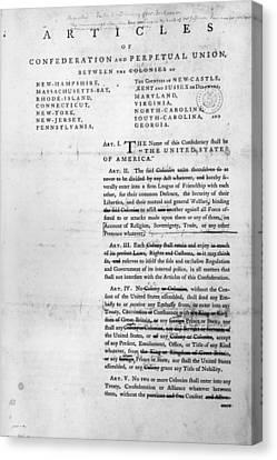 Articles Of Confederation Canvas Print