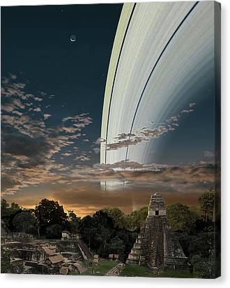 Mayan Mythology Canvas Print - Artists Concept Of Earths Planetary by Ron Miller