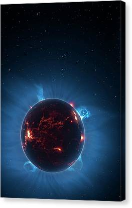 Artwork Of Volcanic World Eclipsing Star Canvas Print by Mark Garlick