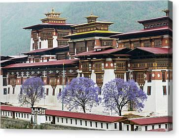 Asia, Bhutan Exterior View Of Punakha Canvas Print