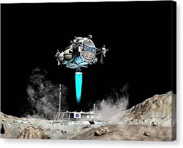 Asteroid Lander Departs Surface Canvas Print