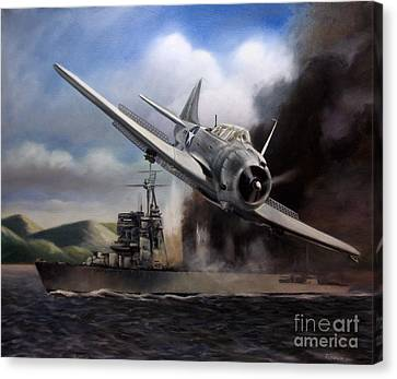 Canvas Print featuring the painting Attack On The Yura by Stephen Roberson