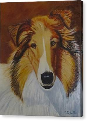 Canvas Print featuring the painting Atticus by Sharon Schultz