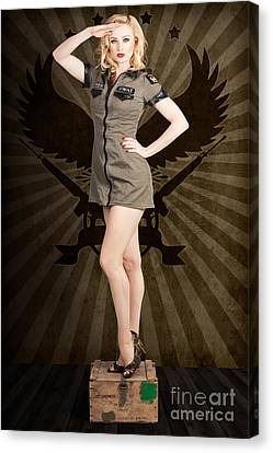 Attractive Blond Pin-up Army Girl. Military Salute Canvas Print by Jorgo Photography - Wall Art Gallery