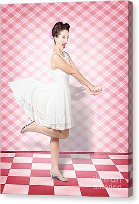 Attractive Pinup Woman Running In Surprise Canvas Print by Jorgo Photography - Wall Art Gallery