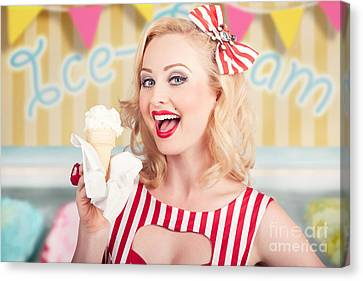 Attractive Retro Pinup Girl Eating Ice Cream Cone Canvas Print by Jorgo Photography - Wall Art Gallery