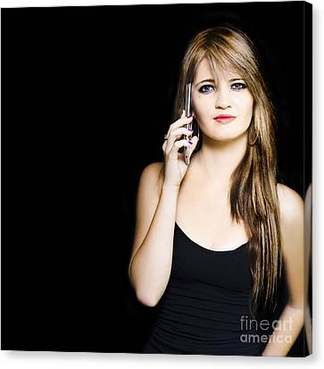 Attractive Young Business Woman Using Mobile Phone Canvas Print