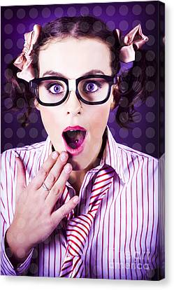 Attractive Young Nerd Girl With Surprised Look Canvas Print by Jorgo Photography - Wall Art Gallery