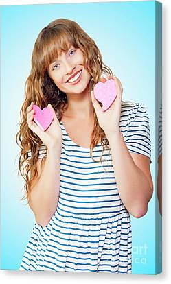 Attractive Young Teenage Girl In Love Canvas Print
