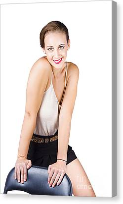 Youthful Canvas Print - Attractive Young Woman Posing On Chair by Jorgo Photography - Wall Art Gallery