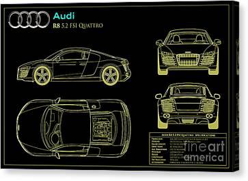 Audi R8 Blueprint Canvas Print