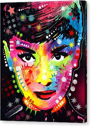 Canvas Print featuring the painting Audrey Hepburn by Dean Russo