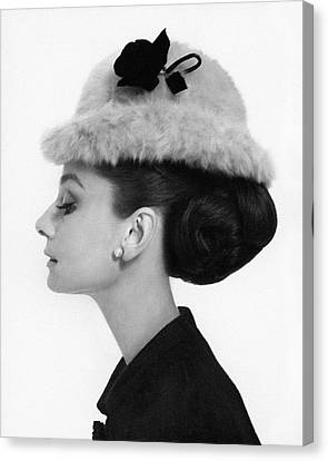 Head And Shoulders Canvas Print - Audrey Hepburn Wearing A Givenchy Hat by Cecil Beaton