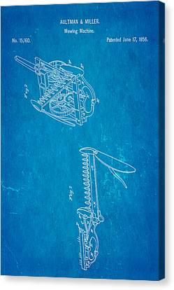 Aultman Mowing Machine Patent 1856 Blueprint Canvas Print by Ian Monk