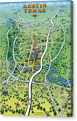 Austin Texas Cartoon Map Canvas Print by Kevin Middleton