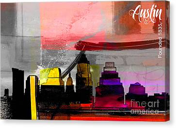 Austin Texas Skyline Watercolor Canvas Print by Marvin Blaine