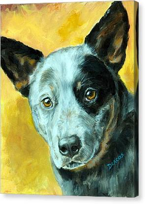 Australian Cattle Dog Blue Heeler On Gold Canvas Print