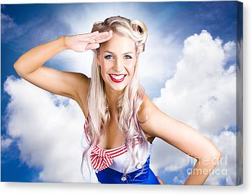 Australian Navy Girl Saluting Australia Day Canvas Print by Jorgo Photography - Wall Art Gallery