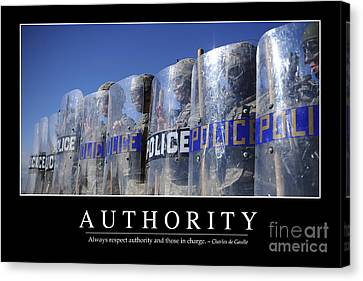 Law Enforcement Canvas Print - Authority Inspirational Quote by Stocktrek Images