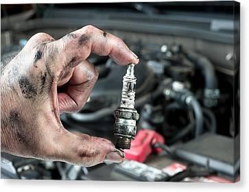 Auto Mechanic And Sparkplug Canvas Print
