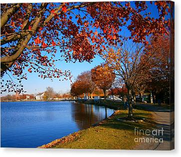 Canvas Print featuring the pyrography Autumn At Argyle Park by Holly Martinson