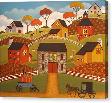 Autumn Barn Quilts Canvas Print