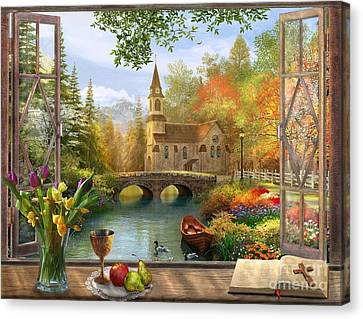 Window Canvas Print - Autumn Church Frame by Dominic Davison