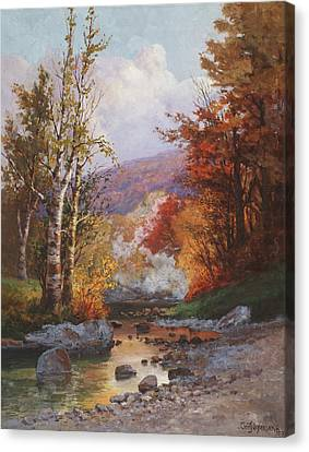 Rivers In The Fall Canvas Print - Autumn In The Berkshires by Christian Jorgensen