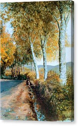 Canvas Print featuring the painting Autumn Is Coming  by Laila Awad Jamaleldin