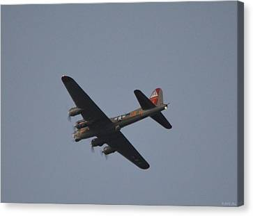 Canvas Print featuring the photograph B-17 Flying Fortress Wwii Bomber Over Santa Rosa Sound At Twilight by Jeff at JSJ Photography