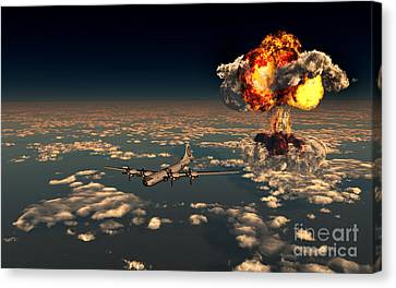 B-29 Superfortress Flying Away Canvas Print by Mark Stevenson