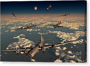 B-29 Superfortress Planes Under Attack Canvas Print