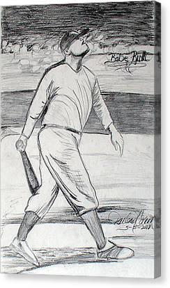 Babe Ruth 2 Canvas Print by Darlene Ricks- Parker