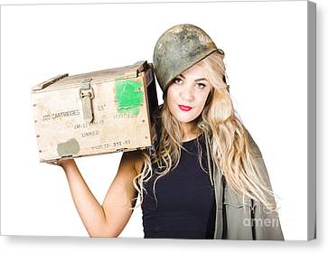 Backup Pinup Girl Wearing Army Helmet And Supplies Canvas Print