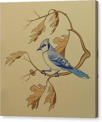 Bluejay Canvas Print - Backyard Jay by Lonnie  C Tapia