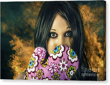 Frustration Canvas Print - Bad Cooking Woman Burning Down House by Jorgo Photography - Wall Art Gallery